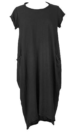 17ebca8cc9 TEXTURE Ladies Women Italian Lagenlook Cap Sleeve Plain 2 Pocket Cotton  Jersey Midi Dress One Size