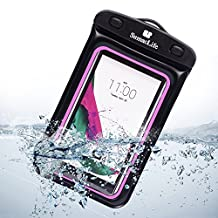 For Apple iPhone 6S Plus / LG V10 / LG Nexus 6P Water-Resistant Pouch bag, SumacLife Universal Cellphone Water-Resistant Pouch bag for 5.5-inch Cellphones (Black/Pink)