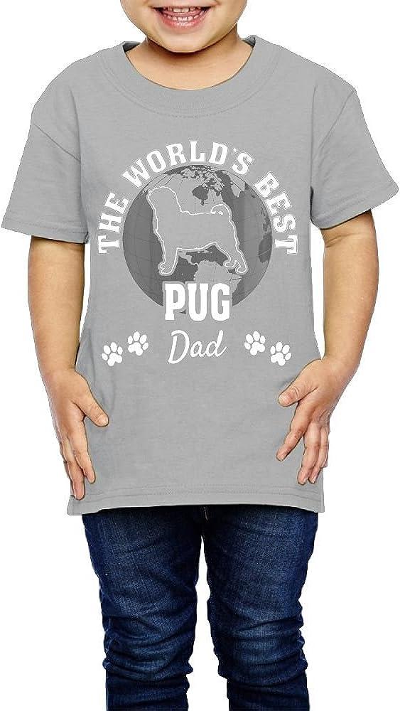 Yishuo Kid Pug Dad Mug Casual Style Travel Tee Short Sleeve Gray 4 Toddler
