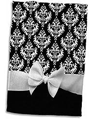 "3dRose Retro Chic Black Polka Dots and White Ribbon Bow-50s Classic Elegance Towel, 15"" x 22"""