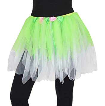 FOXXEO Deluxe Petticoat Tul Falda Tutu con Flores Verde Dance ...