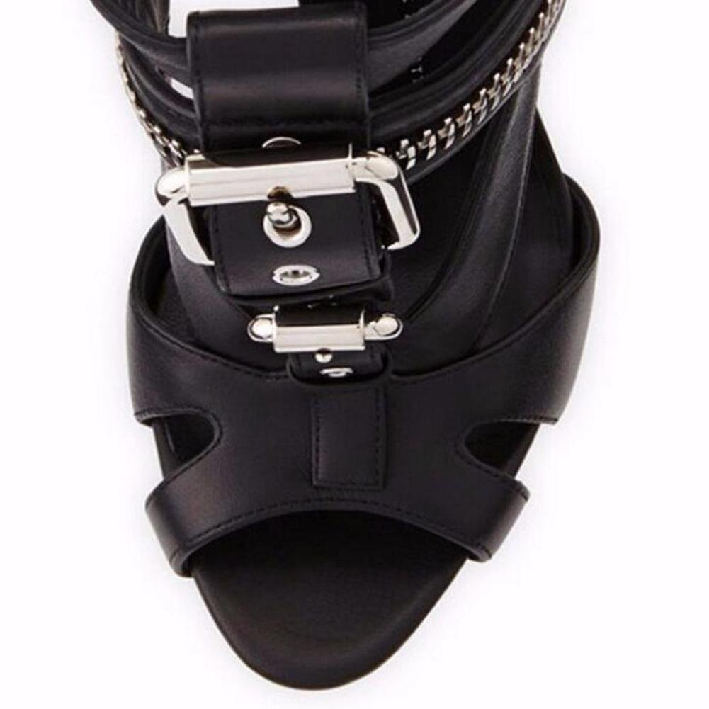 L@YC Womens Sandals High-Heeled Metal Buckle Zipper Fish Mouth with Wedding Dress Womens Shoes
