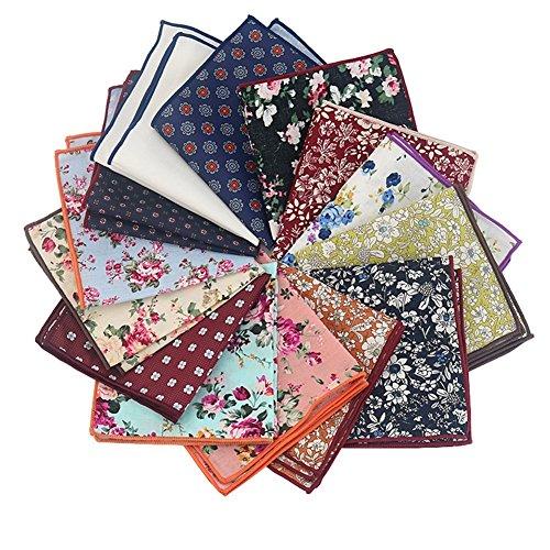 Mantieqingway Men's Cotton Floral Handkerchief (Mix-2) by Mantieqingway