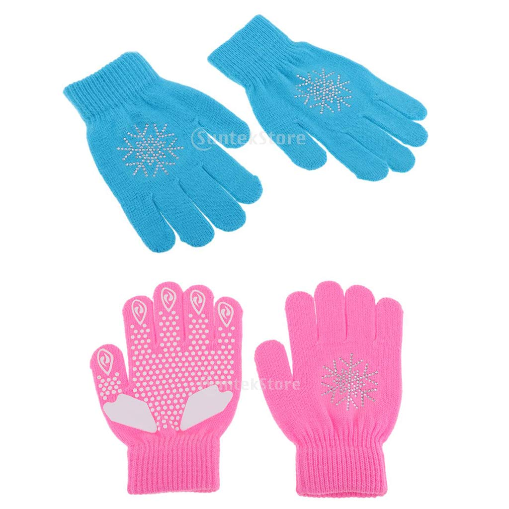 Age 5 to 16 perfk 2 Pairs Skating Padded Gloves Winter Thermal Glove for Kids