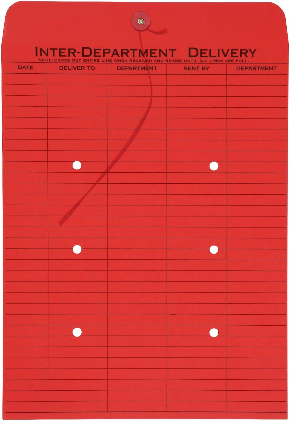 Quality Park 1-Side Print Interoffice Envelopes, String-Tie, Red, 10 x 13, 100 per Carton, (63574)