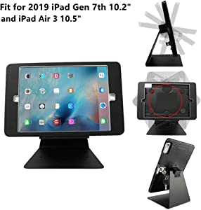 """CarrieCathy Desktop Anti-Theft Security Kiosk POS Stand Holder Enclosure with Lock & Keys for Tablets, Compatible with 2019 iPad 7th Gen 10.2"""" & iPad Air 3 10.5"""", Flip & 360° Swivel Design"""