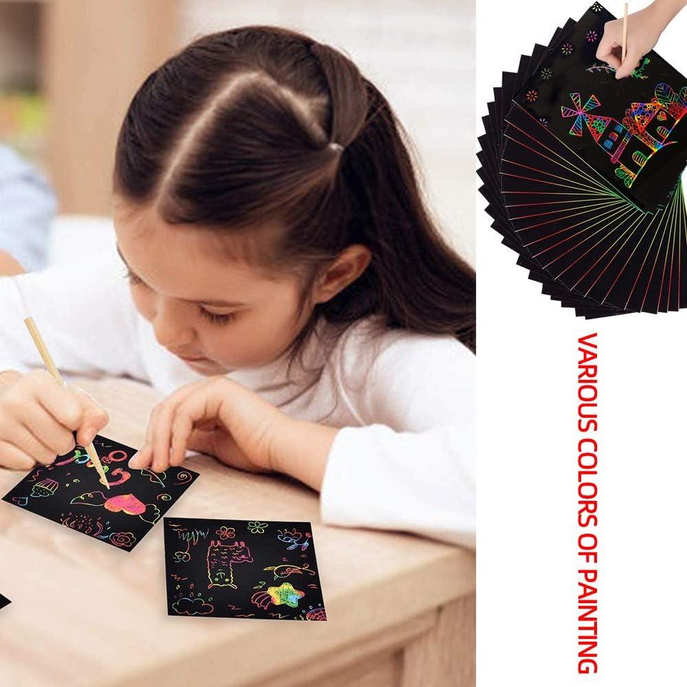 POLARHAWK Scratch Art Set 50 Piece Rainbow Scratch Paper Black Scratch Off Art Crafts Notes Boards Sheet with 5 Wooden Stylus for Kids