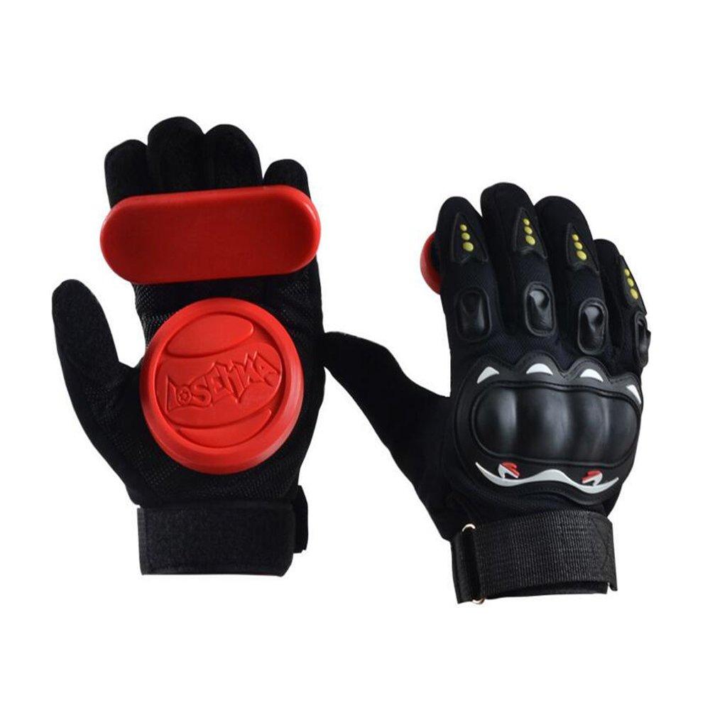Adult Longboard Gloves Downhill Slide Gloves - Slide Gloves with 2 Set Replaceable Slider Puck Set, Red by YS Sport