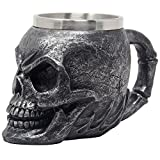 Spooky Human Skull Beer Mug, Stein, Coffee Cup or Beverage Tankard with Stainless Steel Insert for Scary Halloween Decorations and Decorative Skulls & Skeletons As Gothic Bar Decor Gifts