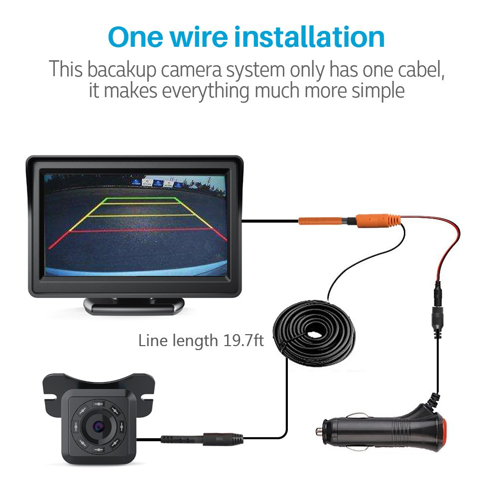 aokur Auto IR Backup Rear View Camera Night Vision Kit with 4.3 TFT LCD Car Monitor Screen Parking Assistance System DC 12V IP68 Waterproof 5558990121