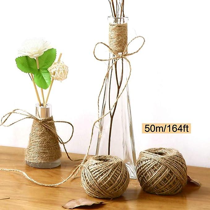 Cintas de Arpillera para DIY Hecho a Mano Artesan/ías de Boda Decoraciones Encaje de Lino para Regalo Arreglos Florales INHEMI 5 Rollo de Cinta Yute Natural con Encaje Blanco 0.5 x 20 m