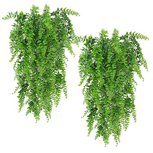 Artificial Plants Boston Ferns Fake Vines Hanging Ivy Decor Plastic Greenery for Wall Indoor Outdoor Hanging Baskets Wedding Garland Decor (Pack of 2)