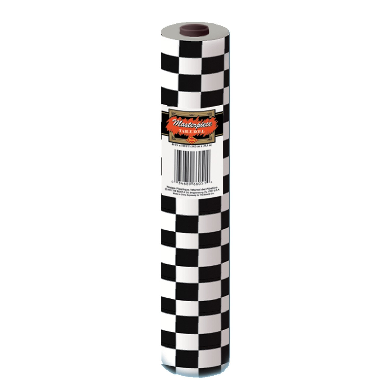 Checkered Table Roll (black & white) Party Accessory  (1 count) (1/Pkg) by Beistle