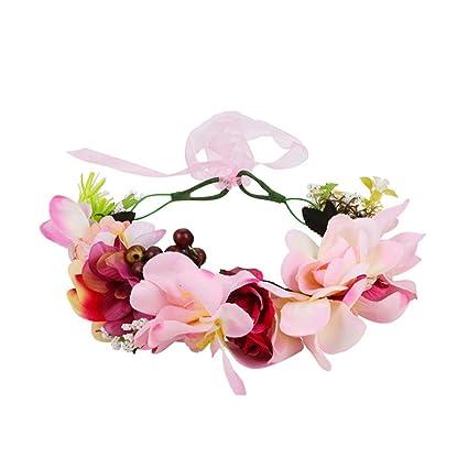 OKBO Cerchietto fascia fiori per bambina e donna per matrimonio damigella  d onore sposa tiara 9278ddc9d0a1