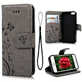 MOLLYCOOCLE iPhone SE 5S 5G Case, Luxury Gray Butterfly Stand Wallet Purse Credit