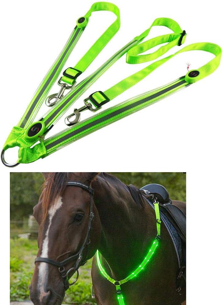 Peahop Arnés de Caballo LED, collarín de pechuga de Caballo LED de Alta Tachuela para Montar Equipo de Seguridad Ajustable Ecuestre al Aire Libre
