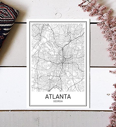 Atlanta Poster, Map of Atlanta, Atlanta Map, City Map Posters, Modern Map Art, City Prints, Atlanta Art, Minimal Print, Atlanta Texas, City Poster, City Map Wall Art, minimalist posters, 8x10 by MotivatedWallArt