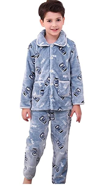 Bwiv Niño Pijama Conjuntos Bilaterales Franela Unisexo Traje Dormir Azul Altura 110cm