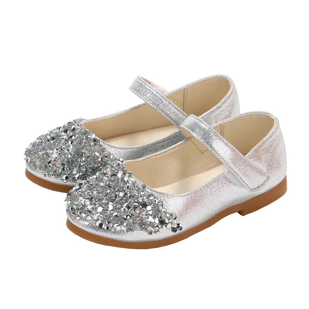 Toddler Girls Shiny Bling Bling Princess Dress Shoes Ballet Flat Mary Jane Silver Size 25