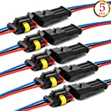 YETOR Way Car Waterproof Electrical Connector,16 AWG 3 pin Plug Auto Electrical Wire Connectors Marine for Car, Truck, Boat, and Other Wire Connections.(5 Pack)