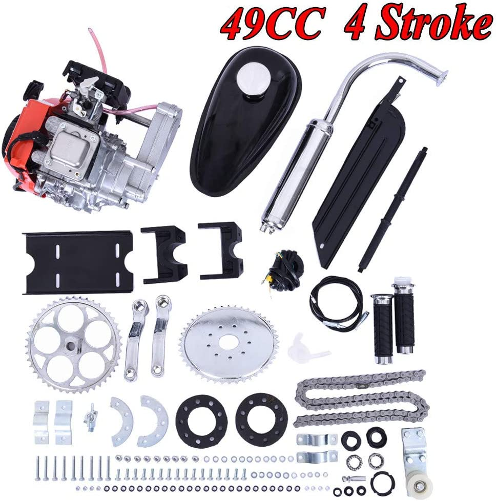 49cc 4 Stroke Engine Motor Kit Gas Petrol Motorized Bike Engine Bicycle for 26 or 28 ATV Bikes Bike Engine Kit 4 Stroke