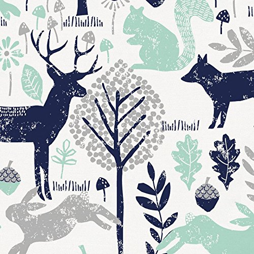 Carousel Designs Navy and Mint Woodland Animals Cradle Sheet