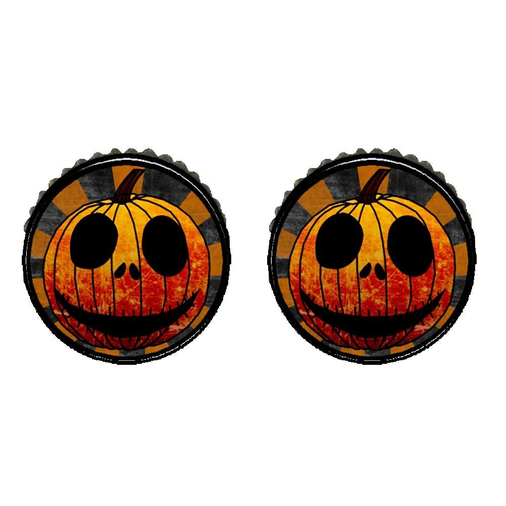 GiftJewelryShop Bronze Retro Style Halloween carved pumpkin face Photo Stud Earrings 10mm Diameter