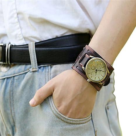 Amazon.com: Wensltd Retro Punk Rock Brown Big Wide Leather Bracelet Cuff Men Watch: Watches