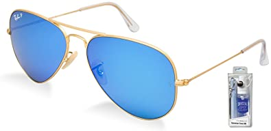 836d74a5e9 Image Unavailable. Image not available for. Color  Ray Ban RB3025 112 4L 58  Blue Mirror Polarized Aviator ...