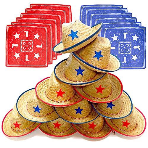 Dozen Straw Cowboy Hats with Cowboy Bandanas (6 Red & 6 Blue) for Kids - Makes Great Birthday Party Hats for Boys and (Funny Easy To Make Costumes For Adults)