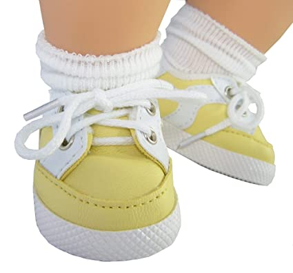 Amazon.com  Yellow Gym Shoes for Bitty Baby + Twins by Doll Clothes ... 5d25a0479