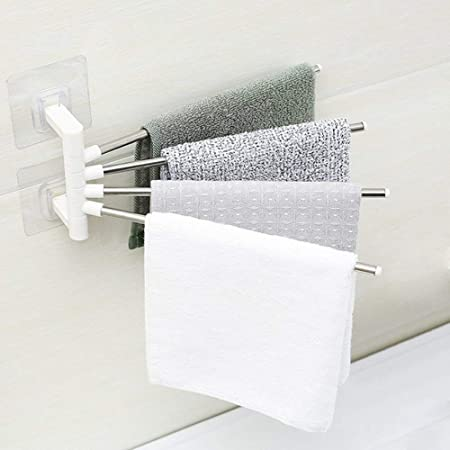 Finiviva 4 Bars Stainless Steel Towel Rack for Bathroom and Kitchen with Wall Stick Adhesive Pads
