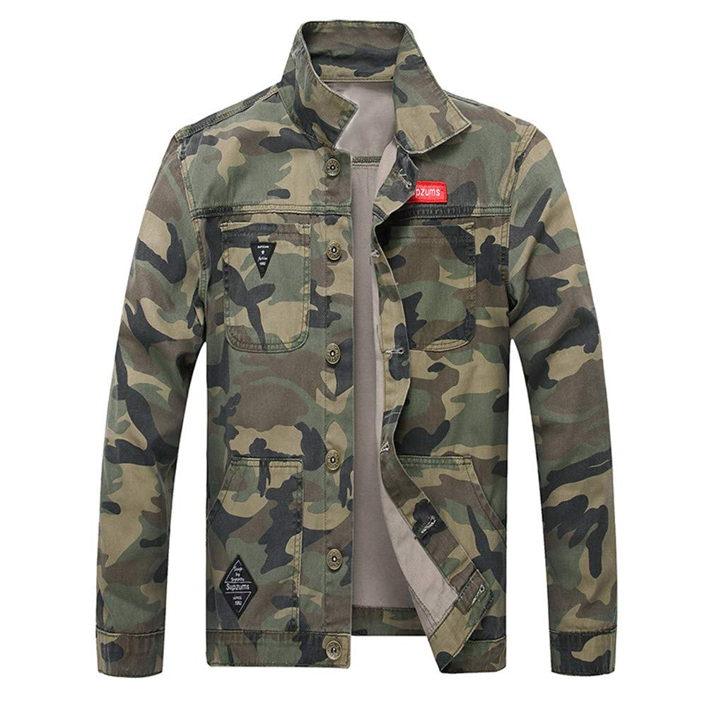 iYYVV Mens Camo Autumn Winter Casual Long Sleeve Turn-Down Camouflage Denim Jacket