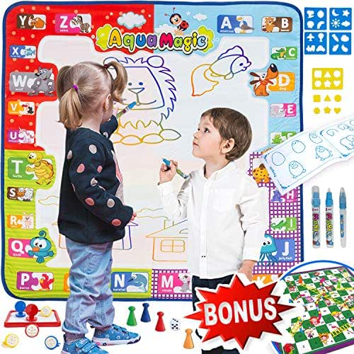 Aqua Magic Mat Drawing Mat Toddler Doodle Board + Gift – Snakes & Ladders Board Game - Water Toy Kids Large Size Painting Writing Color Doodle Drawing Mat Educational Toys Age 3 4 5 6 7 8 9 + Year Old