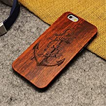 iphone 6S 6 Plus Case, AICOO YCL Real Wooden Handmade Embossed Pattern Carving Wood With Hard Plastic Back Skin Case Cover For iphone 6 6S Plus 5.5 inch - Ship's Anchor