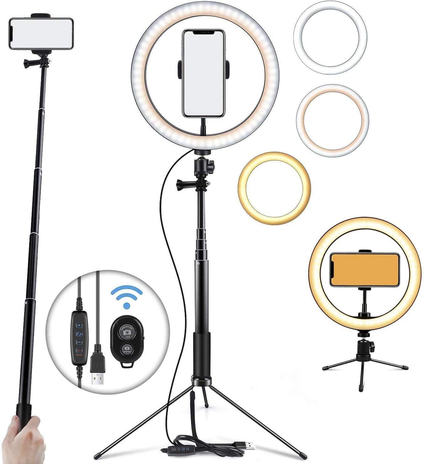 """Nlisse 10"""" Mini Selfie Ring Light Led Camera Ringlight with Adjustable Brightness Adjustable Tripod Stand for Video Photography Makeup Live Streaming"""