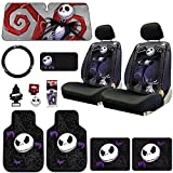 New Design 14 Pieces Nightmare Before Christmas Jack Skellington Car Truck SUV Seat Covers Rubber Front and Rear Floor Mat Sunshade CD Visor Air Fresheners Keychain Set with Little Tree Air Freshener