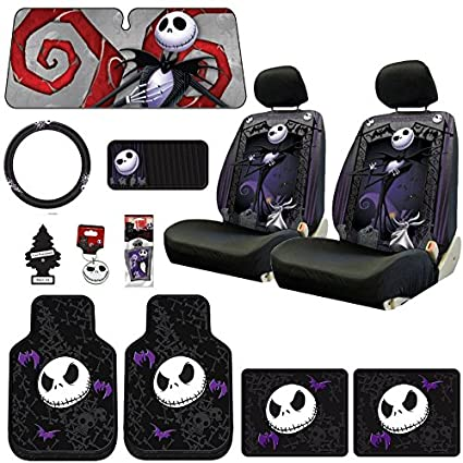 New Design 14 Pieces Nightmare Before Christmas Jack Skellington Car Truck  SUV Seat Covers Rubber Front 3d3e2a2fc2d