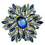 "SELOVO 3.5"" Huge Big Large Brooch Scarf Hats Decoration Blue Flower Pin Gold Tone"