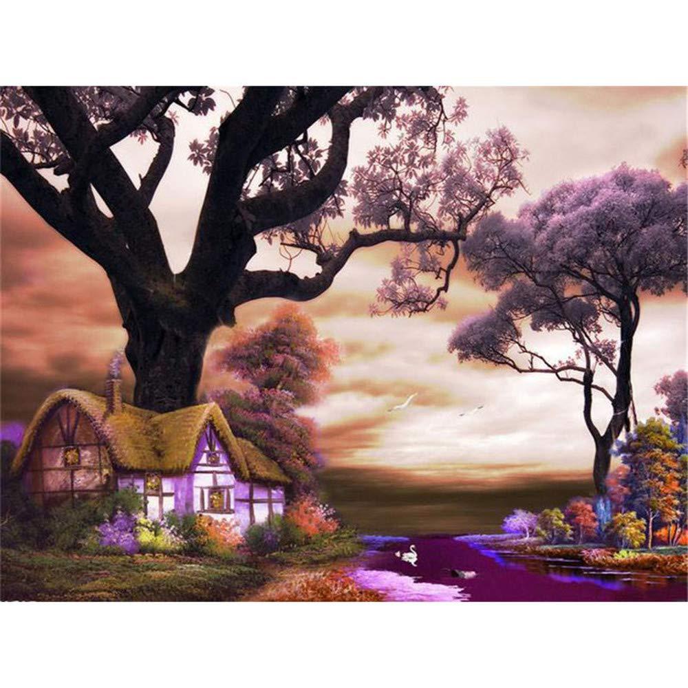 WFYY Malen Nach Zahlen Erwachsene Lila Landschaft Großer Baum Und Haus Auf Segeltuchgeschenken Handgemalte Digitale Bilder 16X20 Inch Holzrahmen B07PMDSCSC   Gemäßigten Kosten