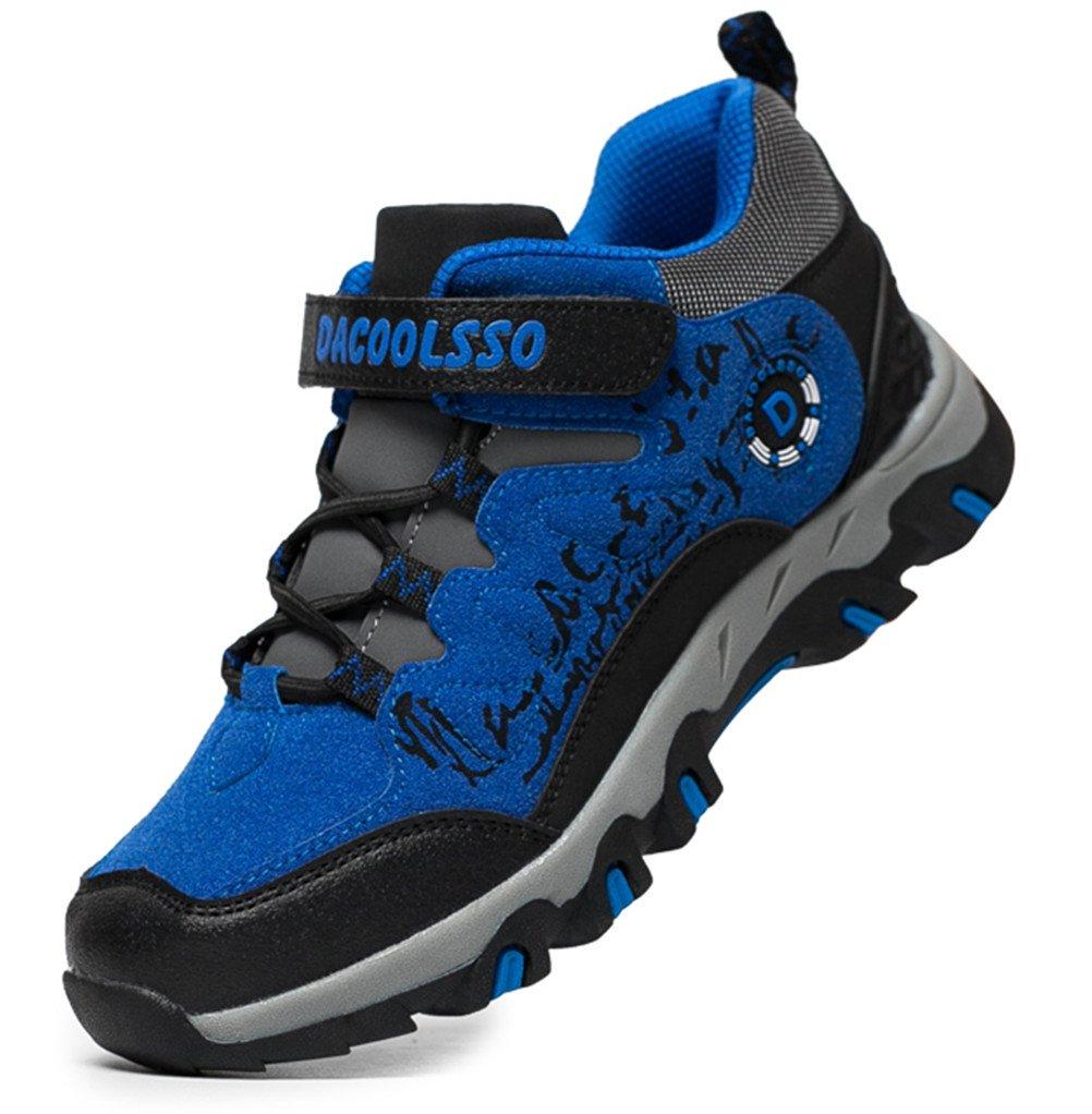 DADAWEN Boy's Girl's Running Shoes Waterproof Outdoor Hiking Athletic Sneakers (Toddler/Little Kid/Big Kid) Blue US Size 4 M Big Kid