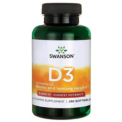 Swanson - Vitamina D3 5000 IU, 250 Cápsulas (Vitamin D-3 Softgels Capsules
