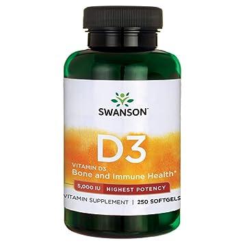 Swanson - Vitamina D3 5000 IU, 250 Cápsulas (Vitamin D-3 Softgels Capsules): Amazon.es: Salud y cuidado personal