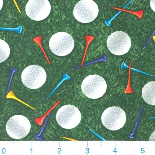 Cotton Fabric Timeless Treasures - Timeless Treasures Golf Balls and Tees, Green