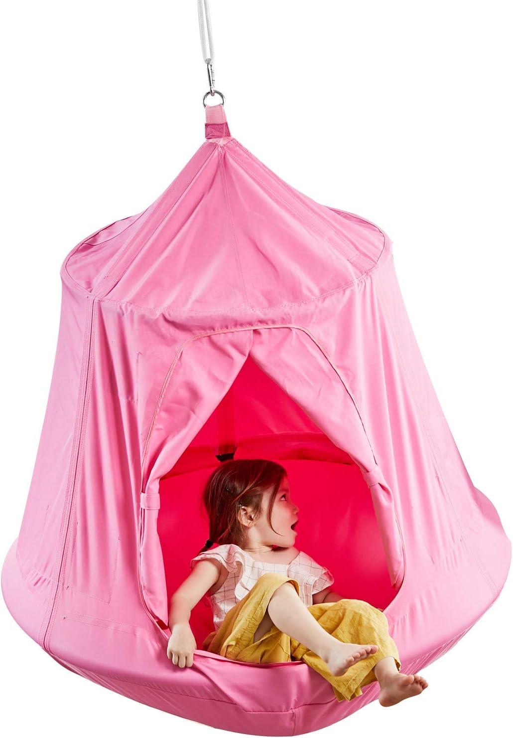Kids Outdoor Waterproof Play Tent Hanging Hammock with Lights String