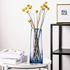 cyl home Vase Flower Arrangement Optic Color Glass Vases with Golden Rim Decor Table Centerpieces Trumpet Shape Accent for Dining Living Room Wedding Gift, 10.6'' H x 3.9'' D, Blue