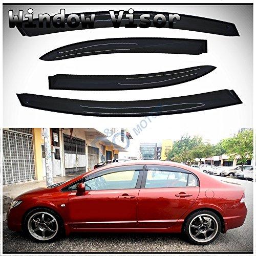 06-11 Honda Civic 4Dr Sedan Tape On Window Visors Smoke Tint