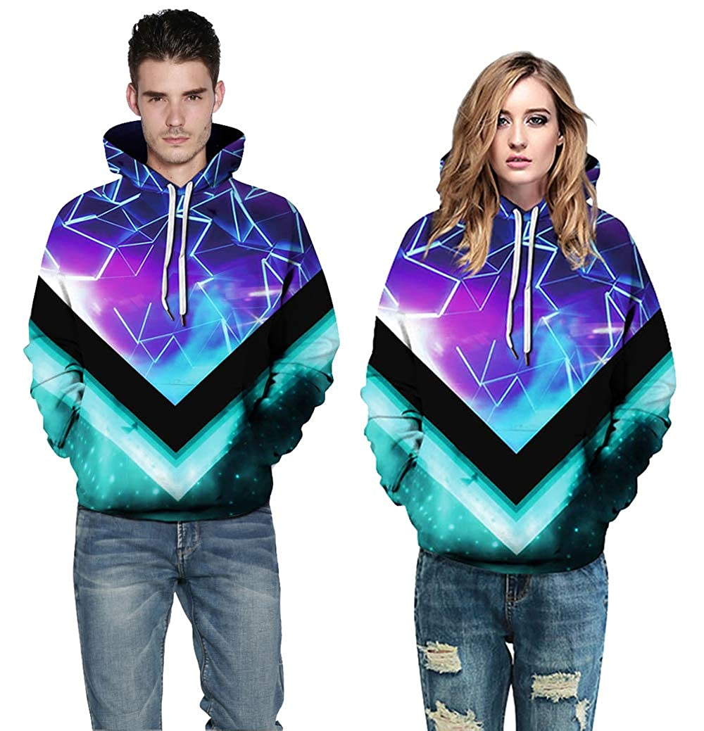 TAKUSHI HF Unisex Fashion Galaxy 3D Digital Printed Pullover Hoodies Hooded Sweatshirts for Sport and Party