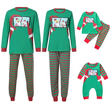 193aa36946 Felicy Family Matching Pajama Set Men Women Kids Baby Printed Tops Blouse  Stripe Pant Outfits Tracksuit