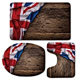 3 Piece Bath Mat Rug Set,Union-Jack,Bathroom Non-Slip Floor Mat,Flag-of-United-Kingdom-on-Old-Oak-Wooden-Board-English-Nation-Country-Britain,Pedestal Rug + Lid Toilet Cover + Bath Mat,Multicolor